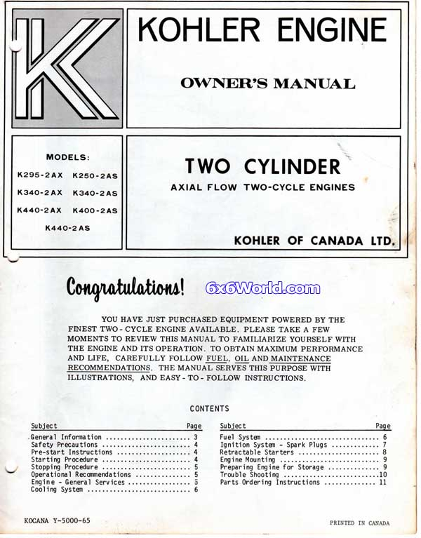 6x6 world kohler engine owners manuals rh 6x6world com kohler owners manual for toilet 4632 kohler owners manual for cub cadet ltx 1040