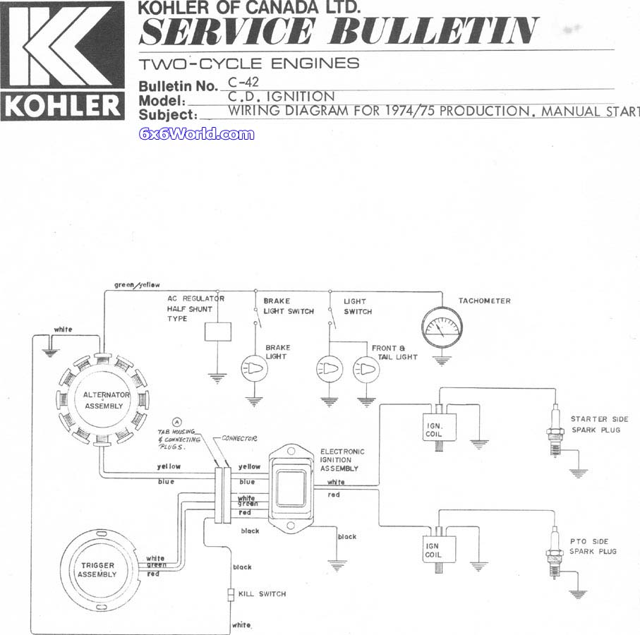 Kohler 2 Stroke Wiring Diagram And Schematics Engine Wire Here Is A Able Pdf Of The 4 16hp Owners Manual