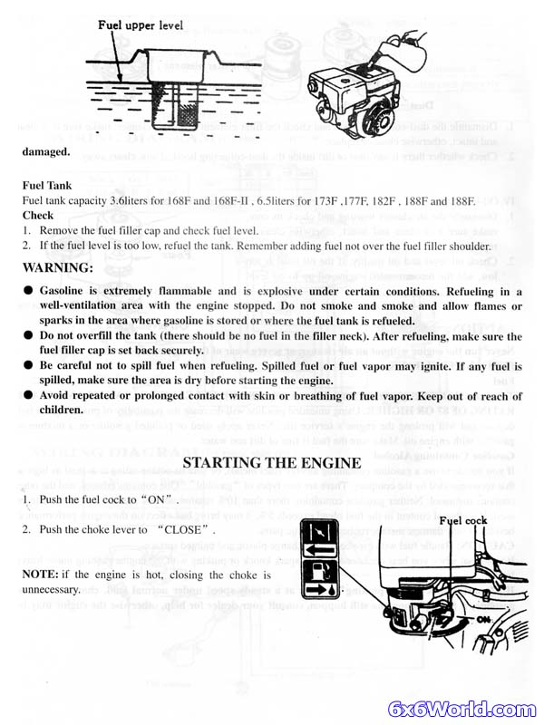 6x6 World - Powermax Gas Engine Owner's Manual